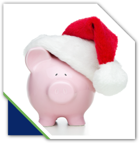piggy bank wearing a Christmas hat