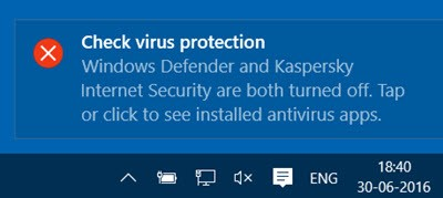 Windows Check Virus Protection screenshot