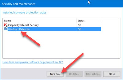 Windows Security and Maintenance screenshot